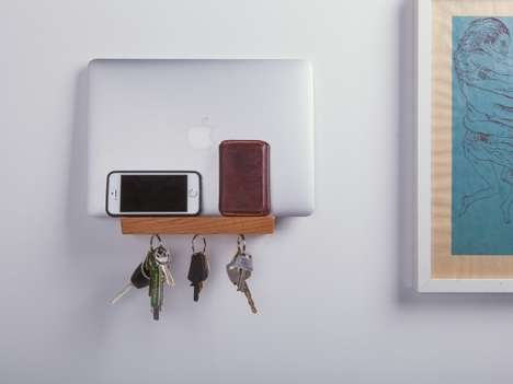 Minimalist Key Storage - Well Made Wooden Key Rack Doubles as an Organizational Wall Shelf
