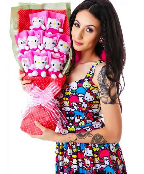 Stuffed Animal Bouquets - The Hello Miss Kitty Purry Bouquet is an Unusual Way to Show Affection
