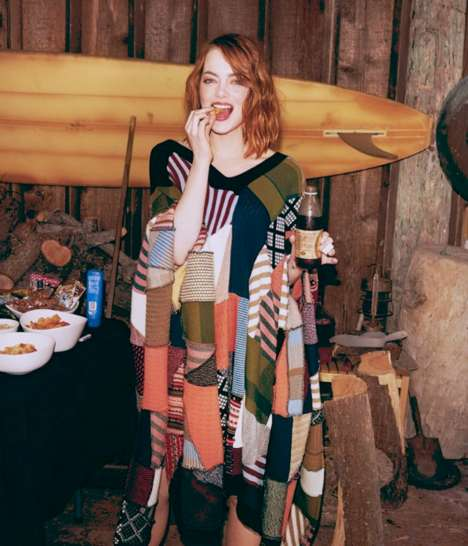 Sweater-Clad Celebrity Photoshoots - The Emma Stone WSJ. Magazine Editorial is Stylishly Rustic