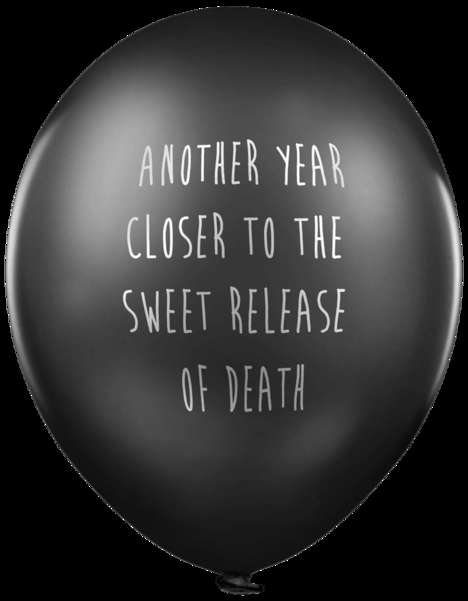 Satirical Celebration Balloons - These Pessimistic Black Balloons Reveal Discouraging Phrases
