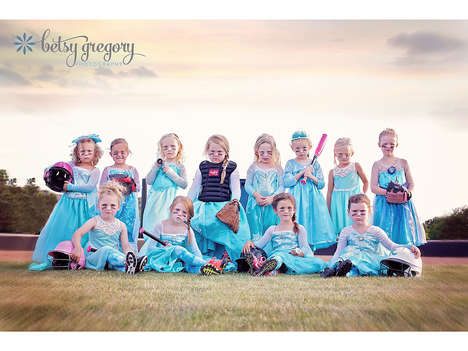 Princess Softball Uniforms - This 'Frozen' Girls Softball Team Poses in Disney Princess Attire