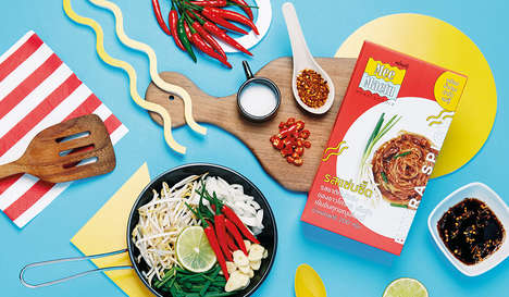Vibrant Noodle Packaging - This Packaging Concept for Korat Noodles Features Bright Colors