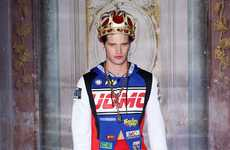 Flamboyant Regal Menswear - This Moschino Men's RTW Spring Line Features Exaggerated Baroque Style