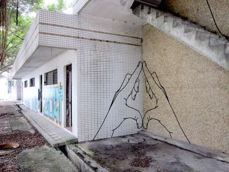 Masking Tape Murals (UPDATE - Buff Diss Creates Intricate Street Art Out of an Unlikely Material