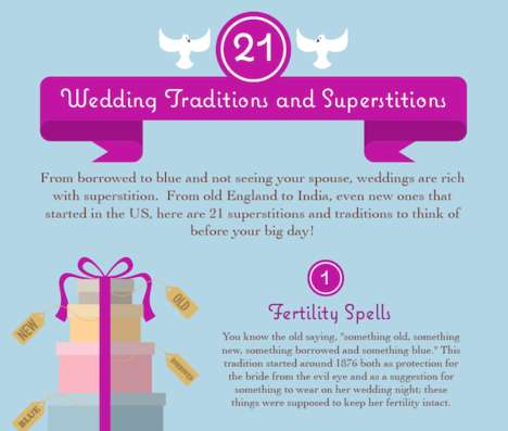 Nuptial Tradition Guides - This Infographic Looks at a Variety of Wedding Superstitions Globally
