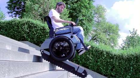 Stair-Climbing Wheelchairs - The Scalevo's Retractable Tracks Allow it to Climb Stairs