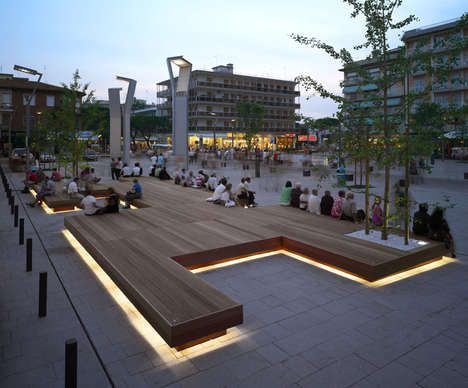 Illuminated Public Benches - A New Bench to Inspire Community Has Been Designed for Piazza Mazzini