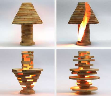 Modular Wooden Lights - The Babele Lamp by Mike Warren Can be Rearranged in a Number of Shapes