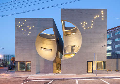 Contemporary Crater Architecture - Two Moon By Moon Hoon is a Visually Striking Cultural Center