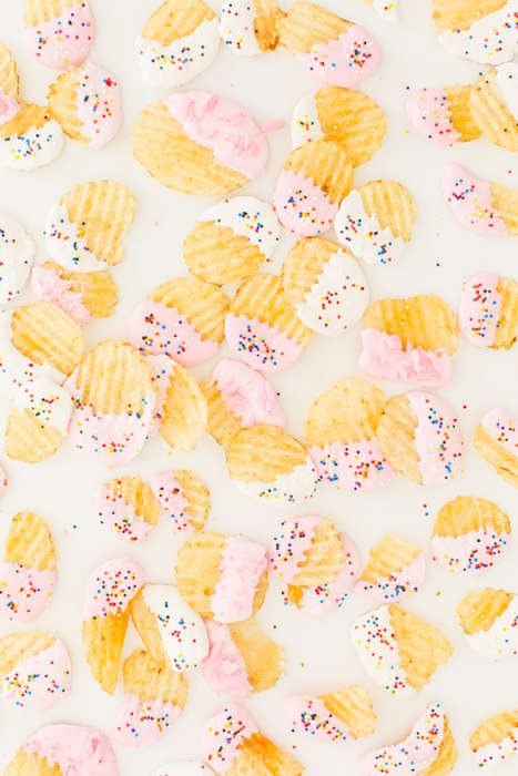 Colorful Confectionery Chips - This Funfetti Dessert Recipe Makes Potato Chips Look and Taste Sweet