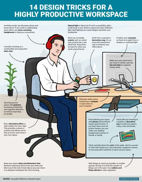 Workplace Design Tips - This Infographic Offers Suggestions on Creating a Productive Workspace