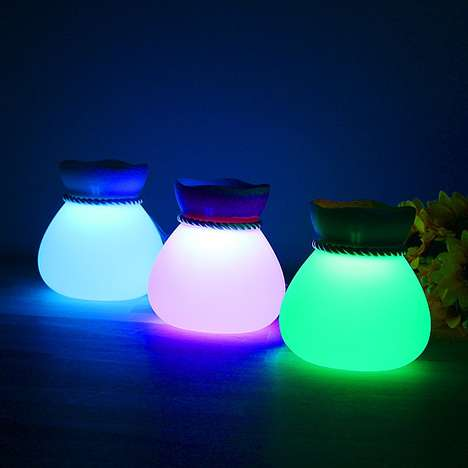 LED Piggy Banks - The 'Lucky Bag Lamp' is a Glowing Cash-Stashing Nightlight