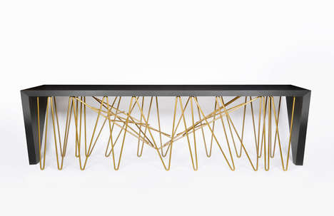 Scribbled Metal Tables - The Chaos Console is Full of Abstract Sculptural Details
