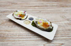 Modular Seafood Dishes - These Handmade Oyster Plates Contain Indented Placement Holders