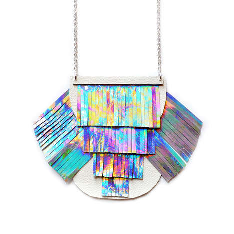 Holographic Statement Accessories - This Fringed Necklace is Made from Vibrant Leather Pieces