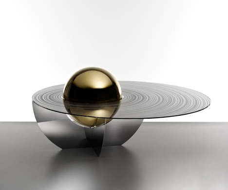 Planetary Coffee Tables - This Outer Space Table Features Mesmerizing Rings of Jupiter