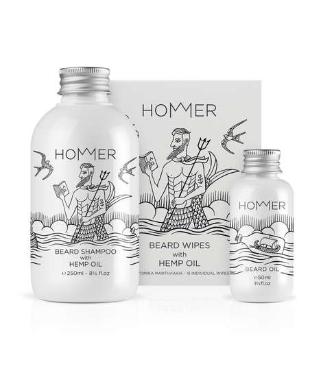 Illustrated Grooming Products - Hommer's Beard Oils and Shampoos Boast Vintage-Themed Packaging