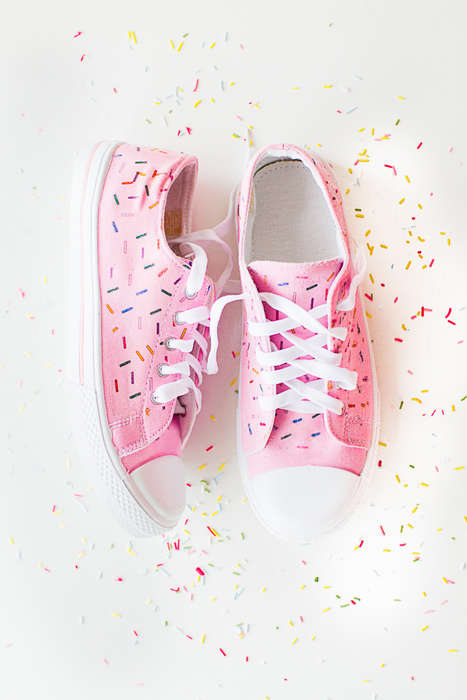 Sprinkled Sneaker DIYs - Bespoke Bride's Handmade Confetti Shoes are Festive and Fun