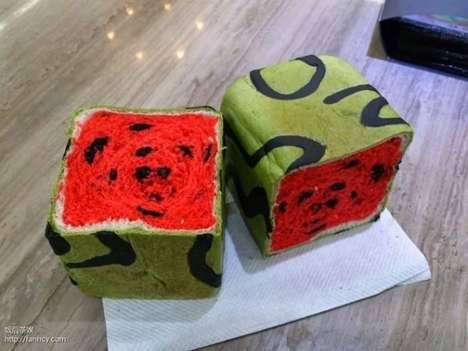 Summery Watermelon Bread - The Japanese Square Watermelon Inspires a Unexpected Alternative