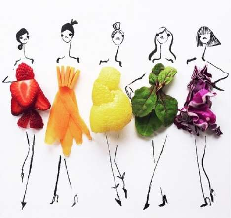 Fruity Fashion Sketches - This Artist Transforms Everyday Foods into Chic Fashion Illustrations