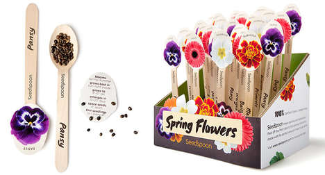 Utensil-Packaged Flower Seeds - This Unique Package Design Uses a Spoon-Like Container to Hold Seeds