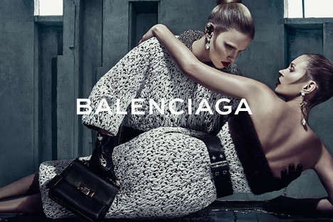 Subtly Sapphic Fashion Ads - The Balenciaga Fall Campaign Stars Kate Moss and Lara Stone