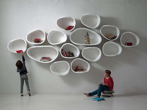 Organic Modular Shelves - FAVO by imperfettolab is a Series of Egg-Shaped Cubbies
