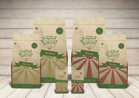 Artisanal Potato Packages - The Scarratt Potato Packaging Design is Made with Adaptable Brown Paper