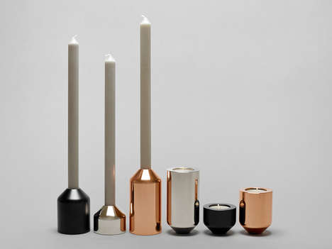 Interchangeable Candleholders - These Chic Candleholders Boast a Sleek and Minimalist Design