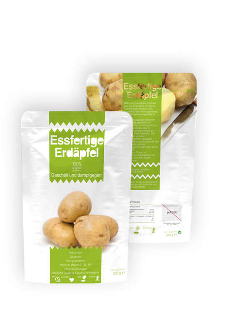 Fresh Potato Packaging - The All-Natural Essfertige Erdäapfel German Potatoes are Peeled and Steamed