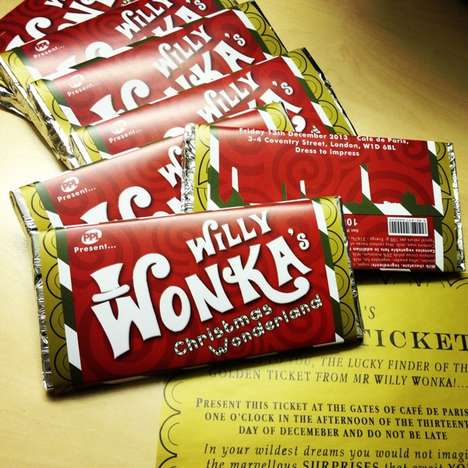 Iconic Holiday Chocolate Concepts - This Concept for a Holiday Edition of the Wonka Bar is Genius