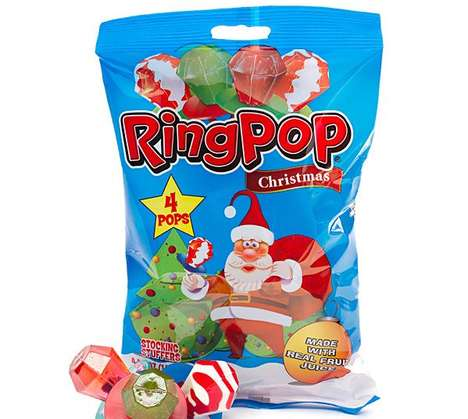 Holiday Edition Candy Rings - This Christmas Ring Pop Pack Makes a Great Stocking Stuffer