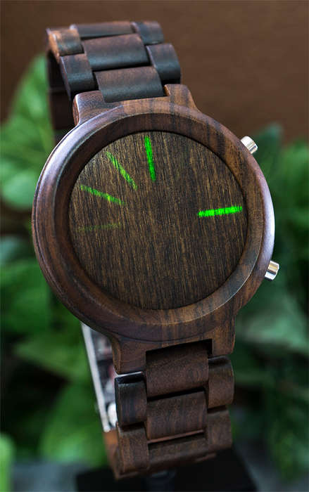 Wooden LED Watches - This Tokyoflash Kisai Blade Wood Link LED Watch Offers Bluetooth Connectivity