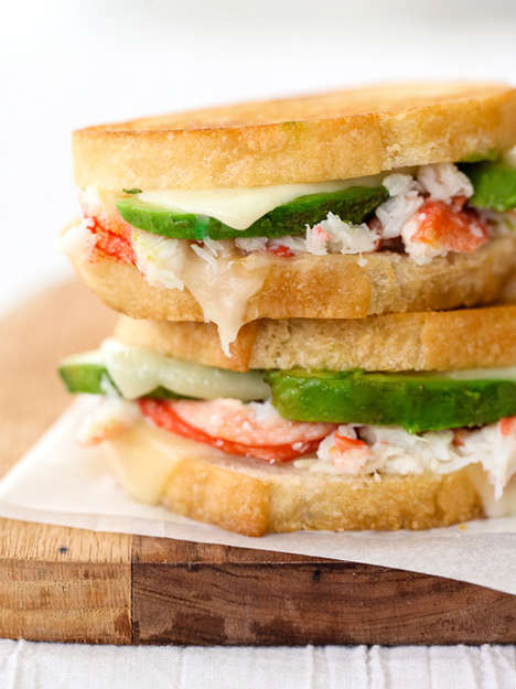 Cheesy Seafood Sandwiches - Crab and Avocado Grilled Cheese Sandwiches Bring Rich Cheese to the Sea