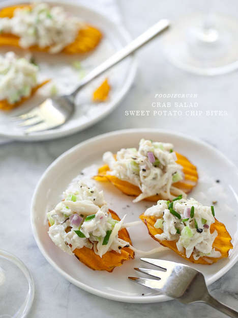 Crab-Covered Potato Chips - These Sweet Potato Chips Feature a Savory Crab Salad Topping