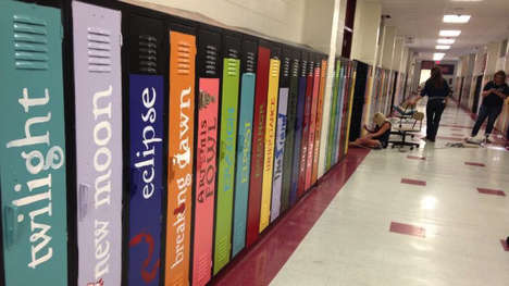 Book Spine Locker Art - These Lockers Feature Hand-Painted Novel Spines to Encourage Reading