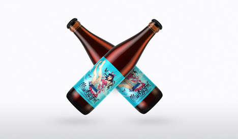 Pinup Girl Beer Labels - This Bright Label Features a Vibrant Pinup Girl & Dark Skull-Headed Birds