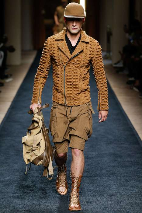Utilitarian Safari Fashion - The Balmain Spring Men's Collection Takes Fashion Fans on an Adventure