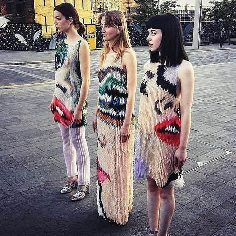Manicure-Inspired Dresses - These Unconventional Dresses are Made from Plastic Fingernails