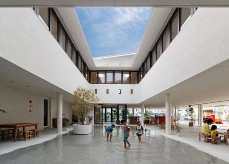 Elemental School Courtyards - This School for Kids Becomes a Splashpad in the Rain