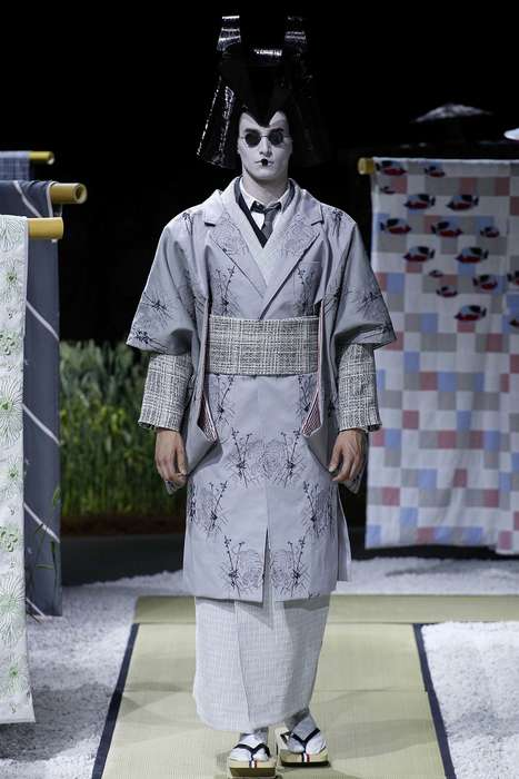 Eerie Geisha Menswear - The Thom Browne Men's Spring Collection is Riddled with Japanese Influence