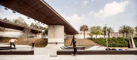 Garden-Shrouded Skate Parks - The Aureà Cuadrado Garden Skate Park is Surrounded by Vegetation