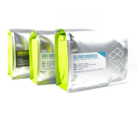 Futuristic Coffee Bag Designs - Supersonic Coffee Beans Boast Chic Metallic Packaging