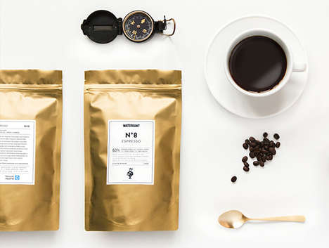 Gold Leaf Espresso Branding - Waterkant is a German Coffee Brand with a Sleek Visual Identity