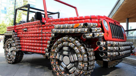 Can-Constructed Jeeps - This Jeep Wrangler Replica is Made of 4,500 Cans of Food to Fight Hunger