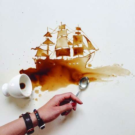 Whimsical Food Illustrations - Giulia Bernardelli Creates Striking Art Out of Spilled Drinks & More