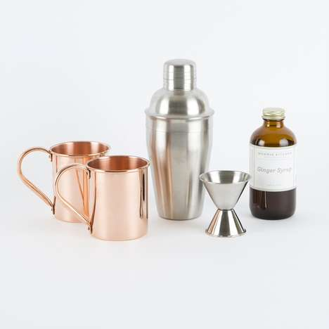 Twosome Cocktail Kits - This Ultramodern Moscow Mule Cocktail Set is Designed for Two
