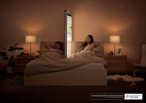 Phone Wall Campaigns - Shiyang He Creates Print Ads that Show the Downside of Connectivity