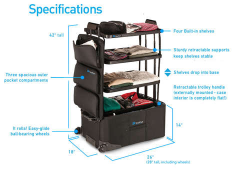 Cleverly Expandable Suitcases - Shelfpack by Ken McKaba Boasts Built-In Shelving for Organization