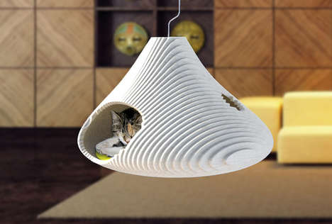 Floating Feline Beds - AtelierSuburban's Suspended Cat Cave Gives Felines a Room with a View